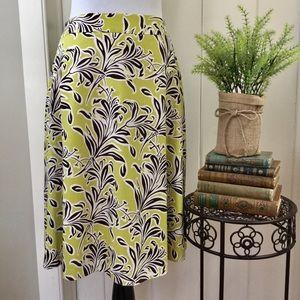 J McLAUGHLIN Chartreuse & Brown Floral Skirt